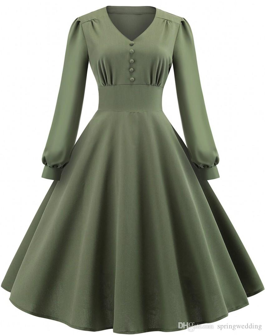 1dc6d4594bda Acquista Rockabilly Army Green Abiti Casual Una Linea Scollo A V Vintage  Maniche Lunghe Womens Swing Party Dress Abiti Economici FS6143 A  24.15 Dal  ...