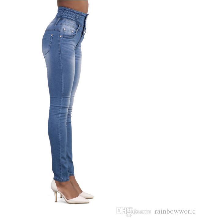 2018 сексуальная мода новый стиль женщины высокой талией Джинсы полная длина рваные джинсы тощий для женщин Джинсы тонкие брюки
