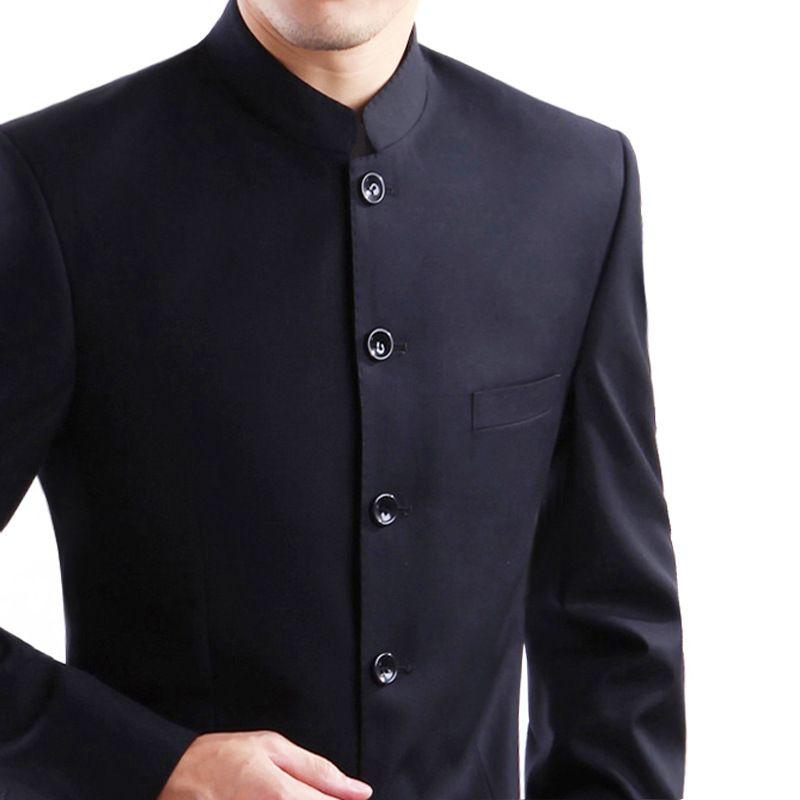 d7a8e67922845 Satın Al 2 Adet Ceket + Pantolon Çin Tunik Takım Elbise Erkekler Standı  Yaka Siyah Takım Erkek Ince Okul Giyim Erkekler Blazer 5.4 Safari Fress  ..., $66.97 ...