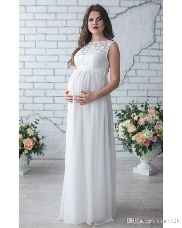 2019 Hot Sale White Long Maternity Evening Dress Long Chiffon Lace  Sleeveless Crew Neck A Line Pregnant Women Party Dress Floor Length 2018  From Sunny728 581ce8dac3b3