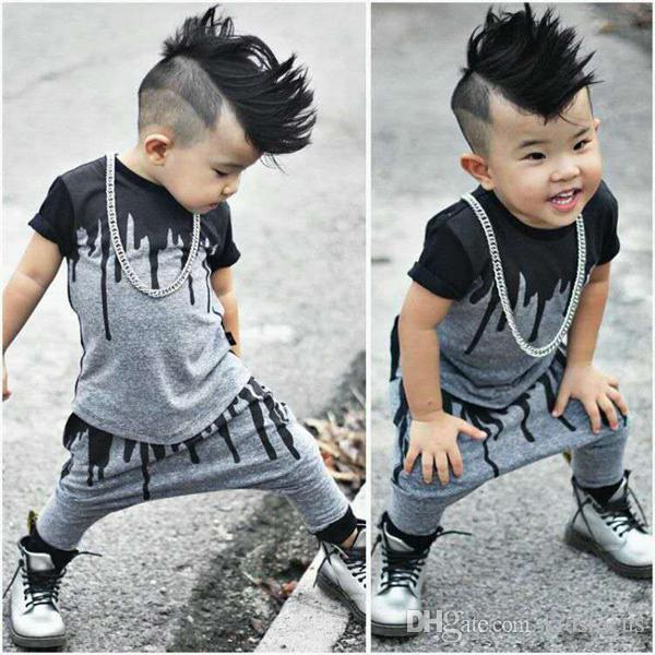 6172100da Moda infantil recién nacida infantil para niños ropa de bebé camiseta tops  pants 2pcs / set trajes conjunto bebés varones trajes de verano