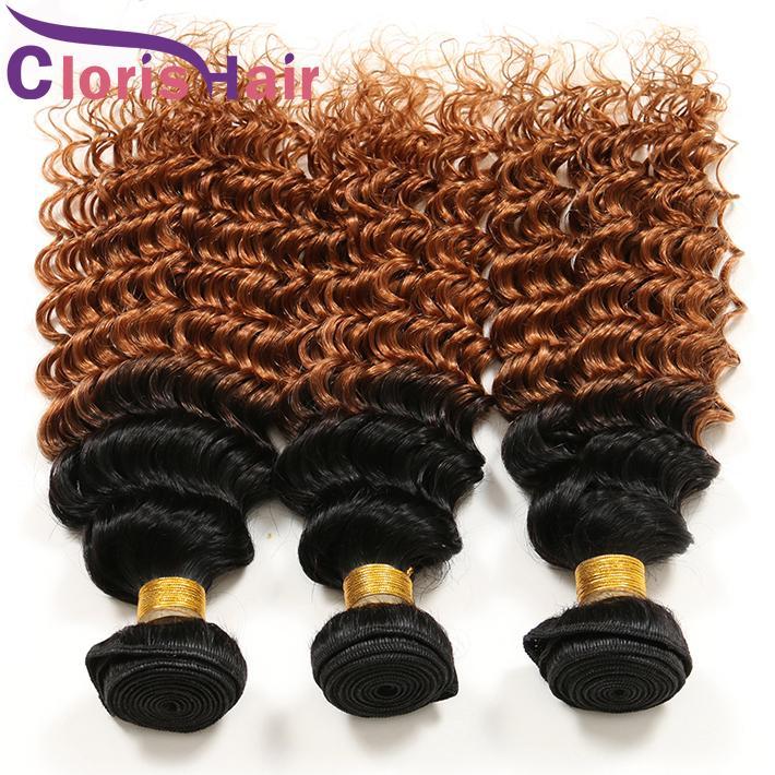 Блондинка вьющиеся ломбер переплетения пучки малайзийский девственные человеческие волосы 1B 27 30 предварительно окрашенные мед блондинка глубокая волна ломбер наращивание волос Dhgate поставщик