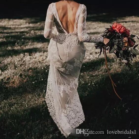 2018 Superbe Sexy Dos Nu Boho Robes De Mariée avec Manches LonguesLace Une Ligne De Longueur De Plancher Pays Bohême Robe De Mariage Personnalisé