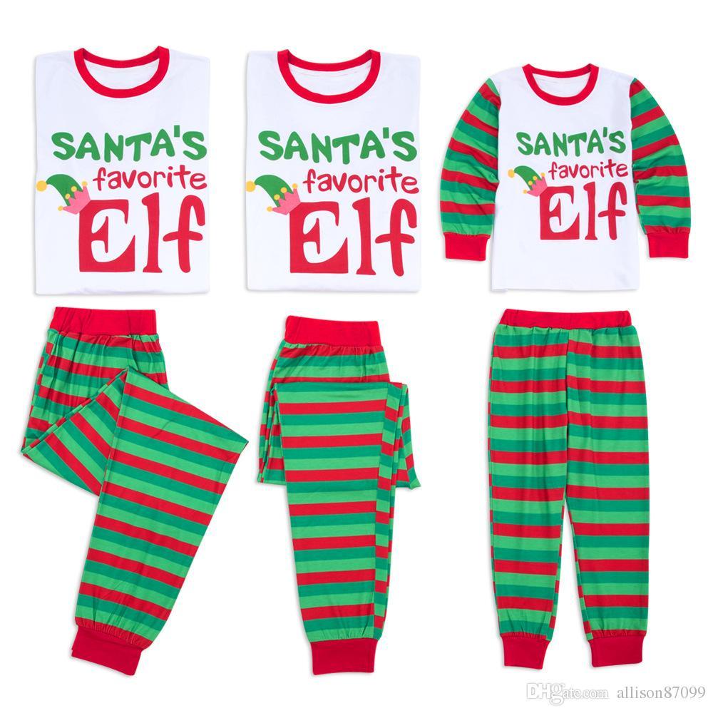 c42e370d84a98 Acheter Elfe Préféré Du Père Noël Enfants Pyjamas De Noël Pyjamas Lettres  De Noël Lettres Rayé Famille Correspondant Homewear Vêtements De Nuit 2018  Nouveau ...