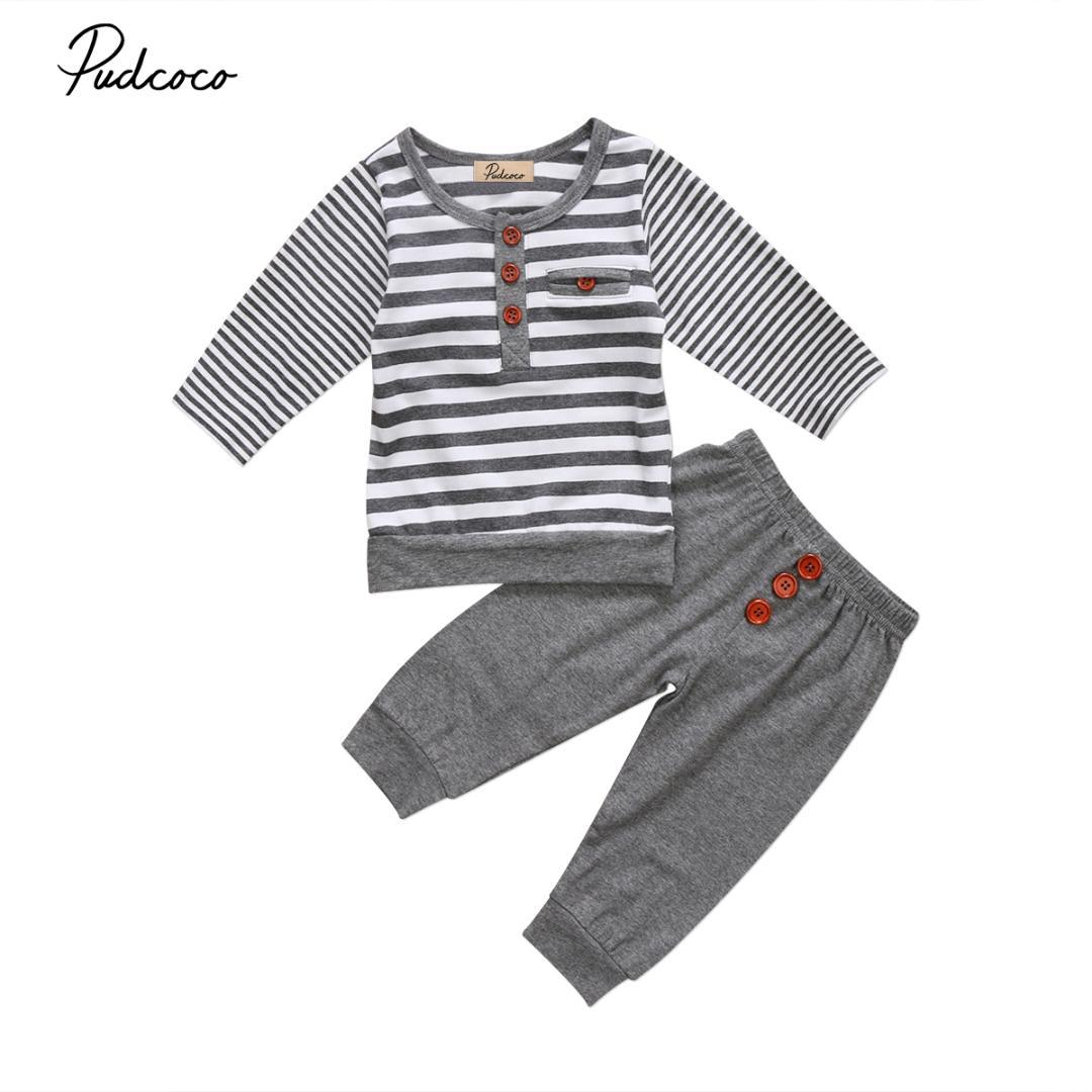 b2d303cf6 2019 Pudcoco Infant Baby Boy Girl Clothes Casual Long Sleeve O Neck ...