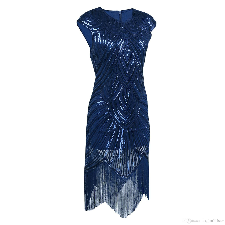 Great Gatsby Dresses Women Sexy Sequin Dress O Neck Sequined Art ...