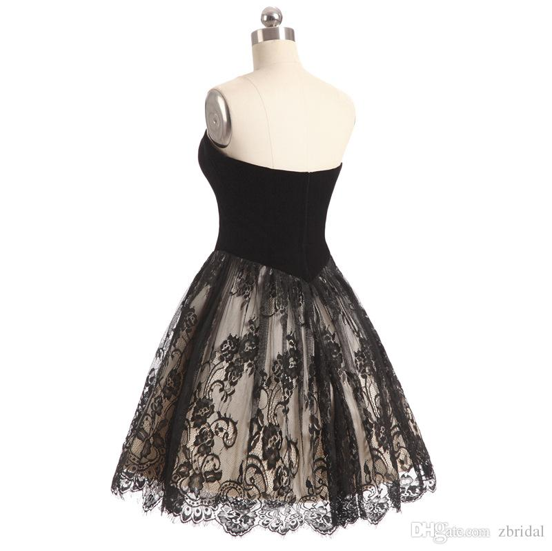 Compre Pequeño Vestido Negro Una Línea De Encaje De Encaje Corto Vestidos De Baile De Bienvenida Vestidos De Noche De Cóctel Por Encargo Más El Tamaño