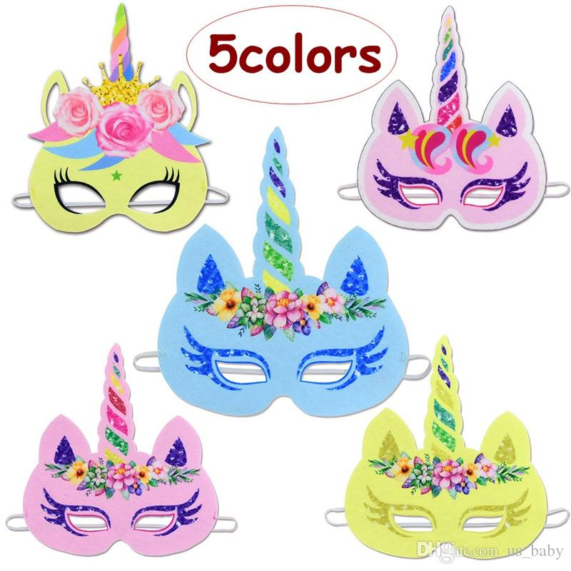 Kids Halloween Birthday Party.Kids Girl Unicorn Design Mask Children Halloween Birthday Party Cosplay Accessories Cartoon Mask 5styles For Choose