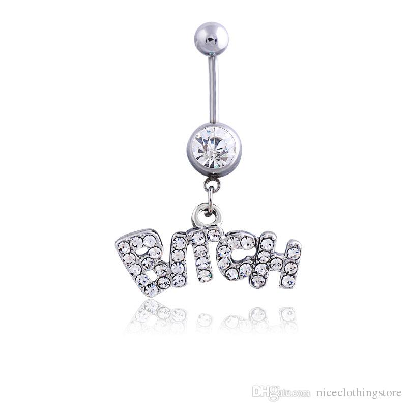 Silver / Rose Sexy Crystal Crystal Perçage Bouton chirurgical Bague Bijoux Bijoux Navel Bar