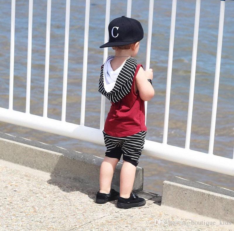 2018 verão baby boy roupas sem mangas com capuz tops + calções listrados calças meninos roupas criança menino roupas crianças crianças conjuntos de roupas