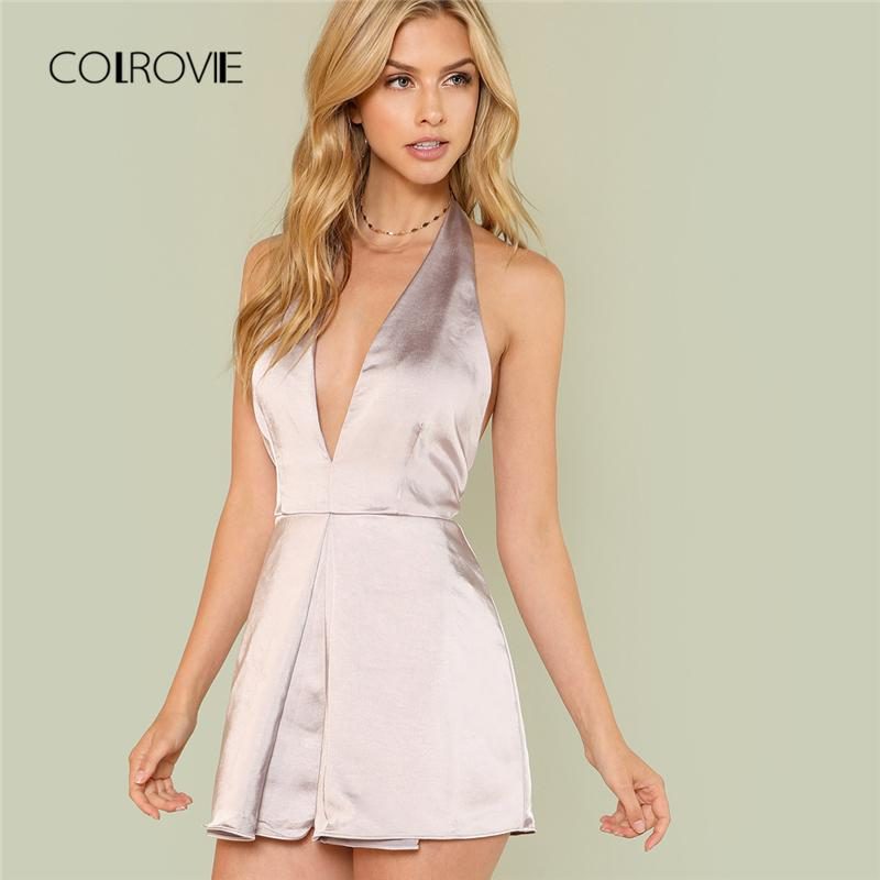472dd9f196c 2019 COLROVIE Silver Sexy Backless Deep V Neck Halter Satin Women Playsuit  2018 Summer Night Out Wide Leg Rompers Overalls For Female From Beke