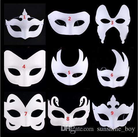 9 Tasarım Taç Kelebek Kuğu Diy Boyama öz Portre Beyaz Boyasız Yüz Maskesi Düz Boş Sürümü Kağıt Hamuru Maske Diy Masquerade Maske