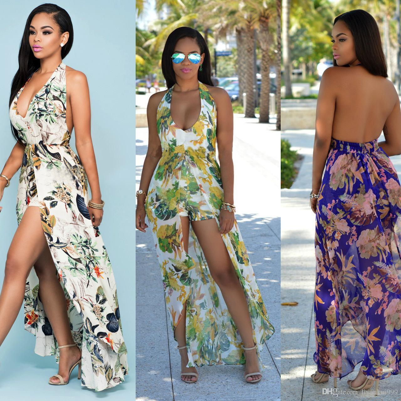 2018 Summer New Bohemian Rompers For Women Halter Neck Plus Size Printed Hanging neck beach skirt Chiffon Sexy Backless Split Dresses