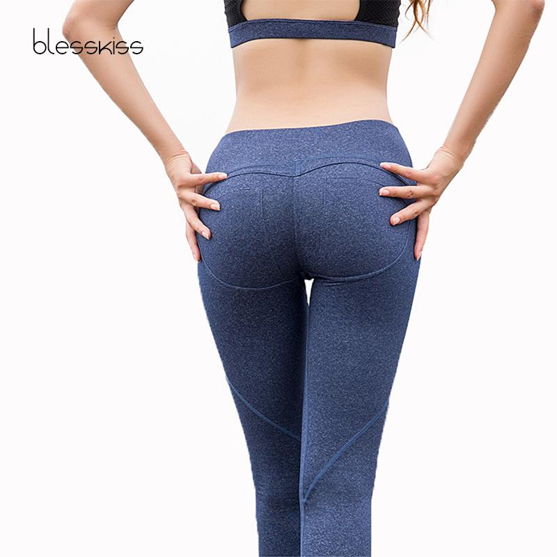 4a0e78fb12f8e 2019 BLESSKISS Sexy Hip Push Up Running Tights Sport Pants For Women Yoga  Leggings Patchwork Sweat Wicking Sportwear Workout Clothes From  Bingquanwat, ...