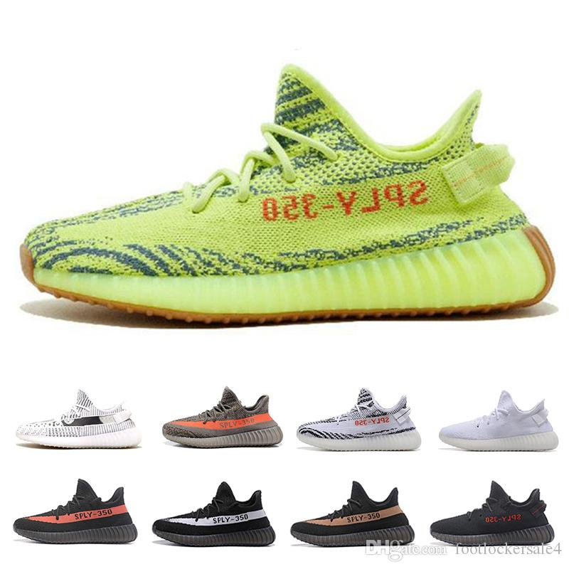 854172b90 Sply 350 V2 Running Shoes Kanye West Semi Frozen Yellow Sports Sneakers  Grey Orange Blue Tint Zebra Bred Black Luxury Shoes Size 36-47 350 Sply 350  350 V2 ...