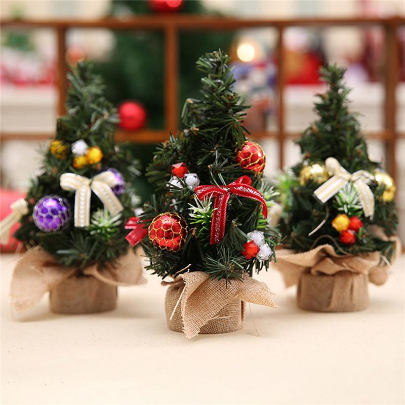 realistic mini christmas tree cute plastic small xmas pine trees christmas party home desk table decorations ornaments gift christmas table decoration