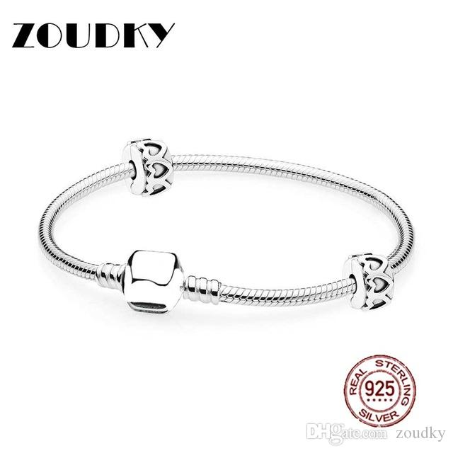 ZOUDKY Book Di 100% 925 Sterling Silver MOMENTS Bracelet Starter Set fit DIY Original charm Bracelets jewelry A set of prices