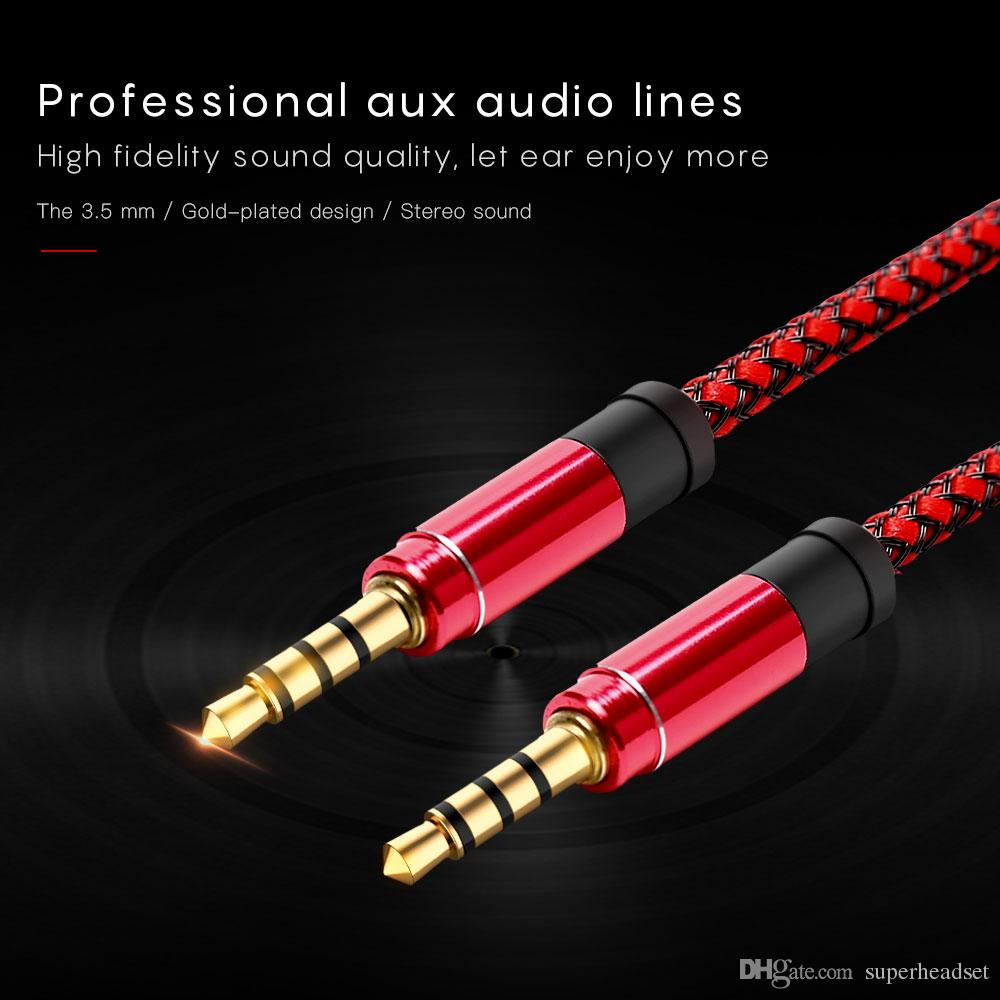1.5M Aux Cable 3.5mm to 3.5mm Nylon Gold-plated Plug Male to Male Audio Cable for Car Phone MP3 Headphone Speaker