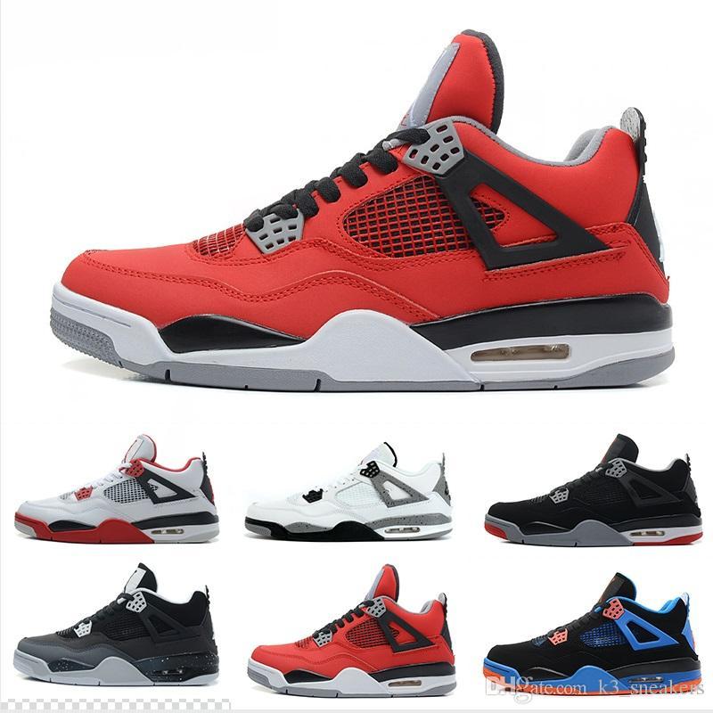 best service f1e86 02233 Großhandel Hohe Qualität Nike Air Jordan 4 Designer Shoes 4s Mann  Basketball Schuhe Authentic Iv Stiefel Weiß Zement Feuer Rot Gezüchtet  Bulls Herren ...