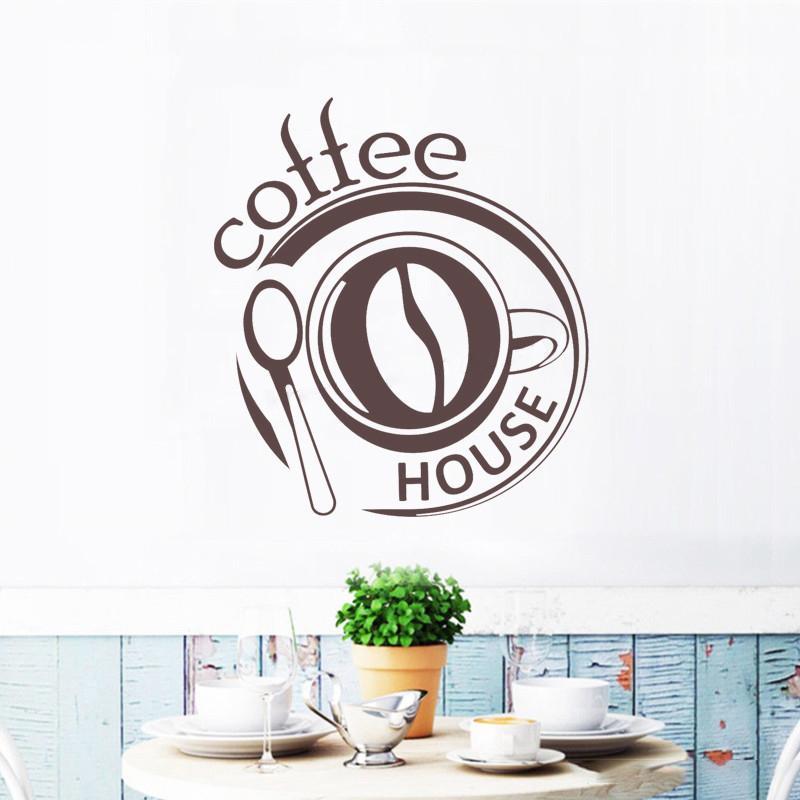 Stickers Cocina | Compre Tatuajes De Pared Signo De La Casa De Cafe Moderno Vinilo