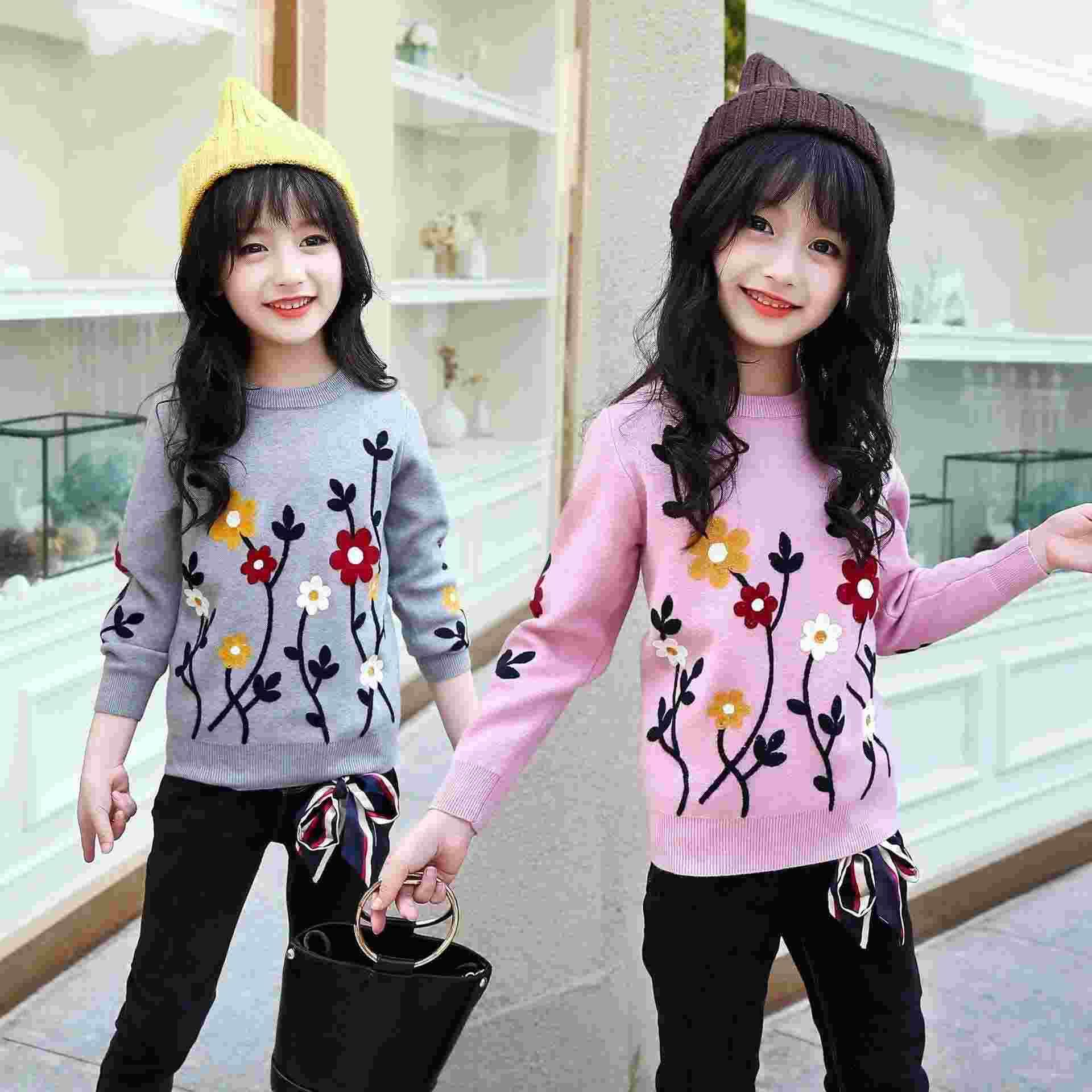 2018 Autumn Winter Girls Sweaters Children Clothing Kids Clothes