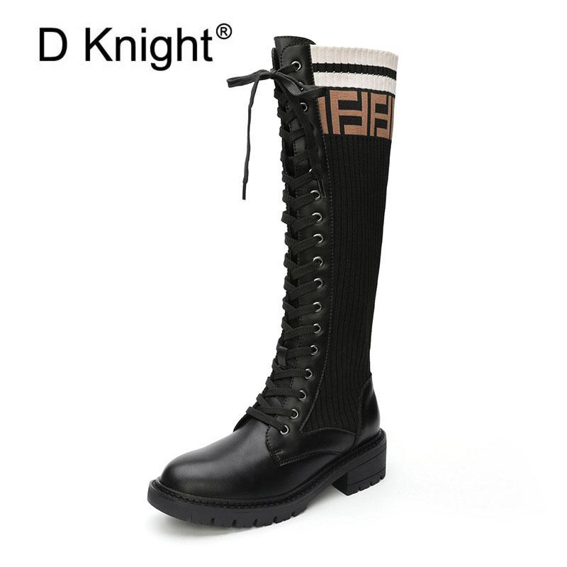 adee418b6 New Women's Casual Flat Knee High Riding Boots Fashion Round Toe Stretch  Fabric Patchwork Long Winter Boots Ladies Slim