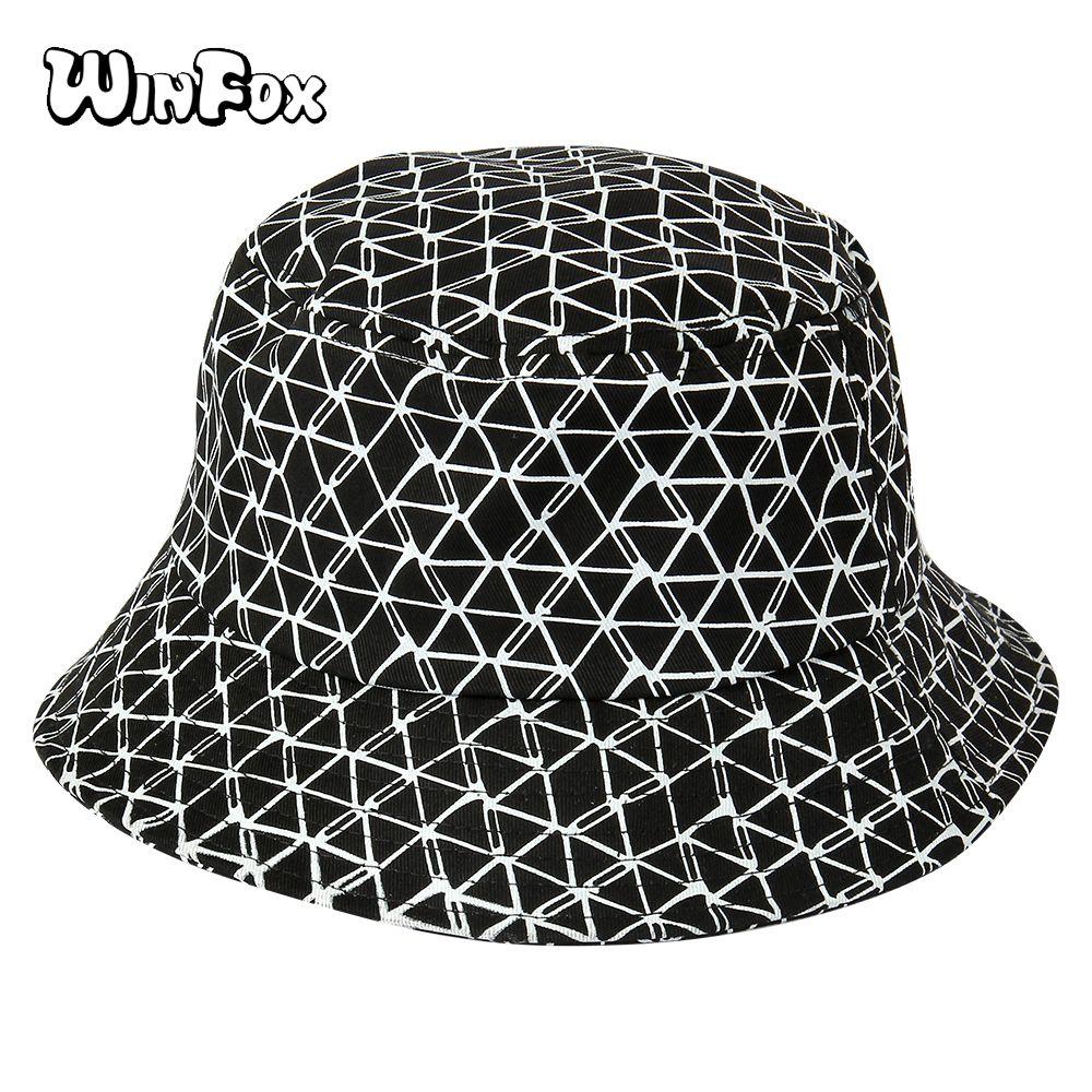 Winfox New Fashion Black White Plaid Bucket Cap Men Women Hip Hop Outdoor  Sport Ladies Beach Hat Sun Fishing Bucket Hats Fedora Hat Bowler Hat From  ... b2cb5b58b81