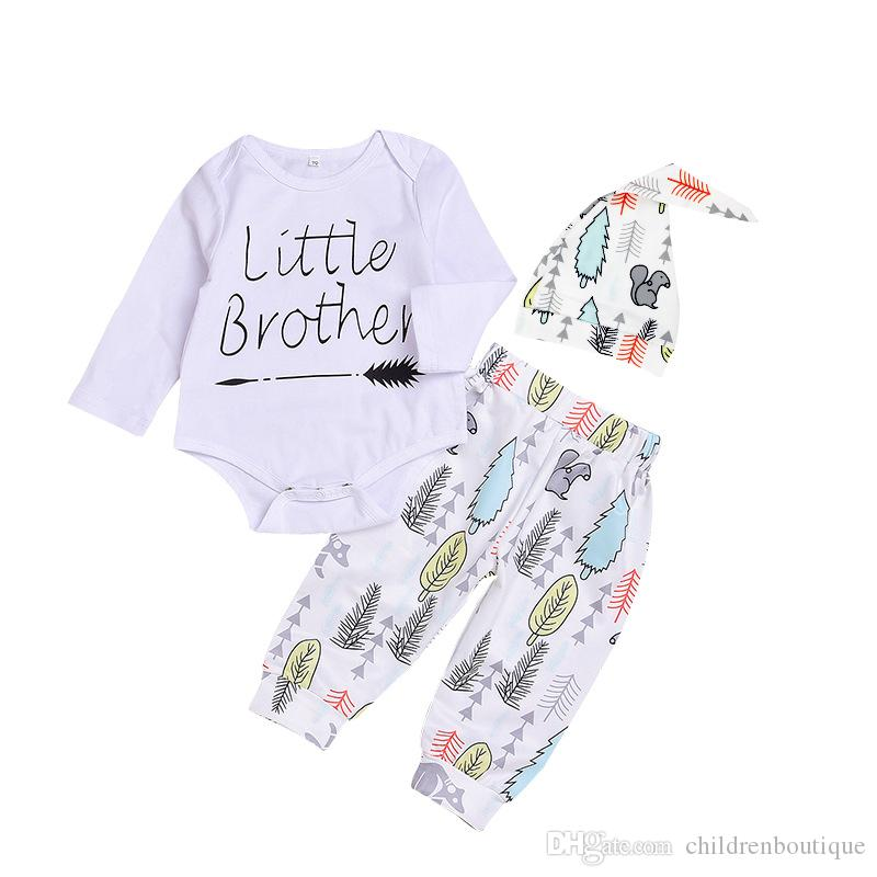 e8e68160de2b2 2018 New Baby Boy Clothes Set Little Brother Printed Romper Long Pants  Leggings Hat 3PCS Boys Outfits Set Newborn Infant Boys Clothing