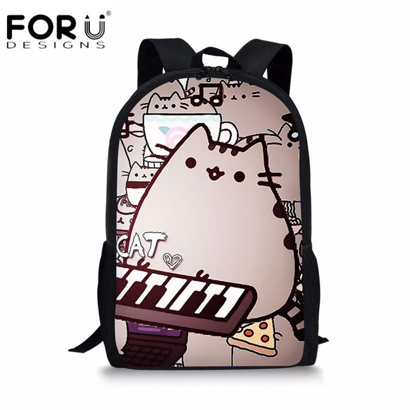 FORUDESIGNS Cute Cat Cartoon School Bags For Teenager Girls Casual Children  Kids Daily Pack Bags Double Shoulder Bagpack Backpacks For Travel Day  Backpacks ... 33b6b9aab1d0b