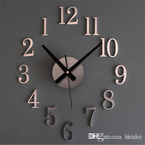 wholesale qiyue back metal texture true 3d stereo diy clock wall