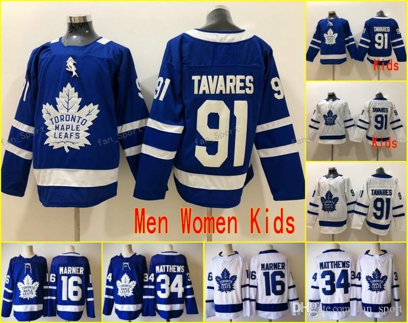 more photos 31a0c 55d38 New 91 John Tavares Jerseys 100% stitched Men Women Youth Toronto Maple  Leafs 16 Mitch Marner 34 Auston Matthews Hockey Kids Cheap sales