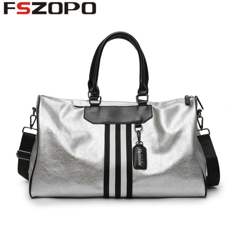 c099dc3372 2019 Women PU Soft Leather Fitness Gym Bags For Men Striped Training  Shoulder Sport Bag Handbag Traveling Bag From Fwuyun