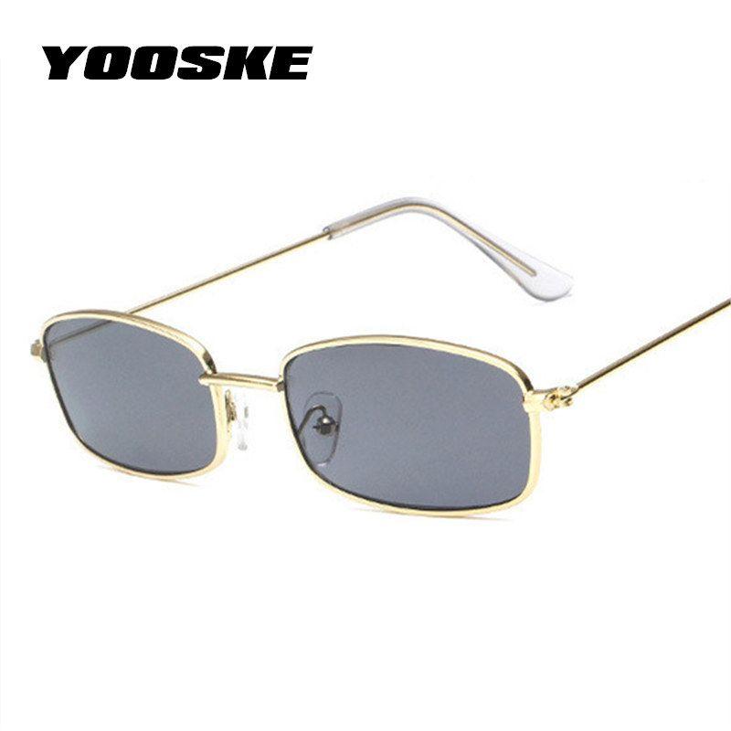 4ef22822e Compre YOOSKE Homens Retângulo Do Vintage Óculos De Sol Das Mulheres  Designer De Marca De Luxo Retro Prata Preto Vermelho Óculos De Sol Tamanho  Pequeno ...
