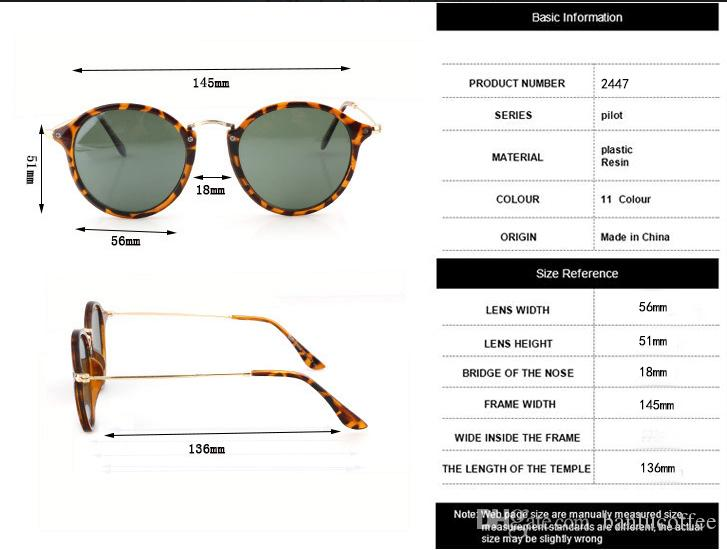New 2018 Fashion Classic Vinatge 2447 Round Style Occhiali da sole Uomo Donna Brand Design Occhiali da sole Oculos De Sol Gafas