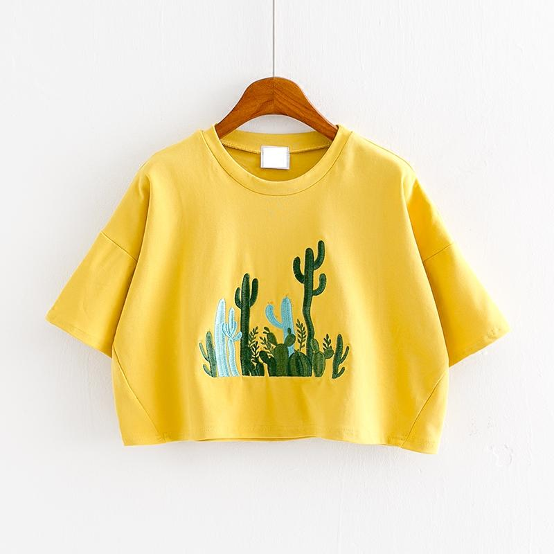 Summer Sweet Embroidery Cactus Loose T Shirt Student Casual Short-sleeved Crop Tops Bright Yellow Pink Blue Women Short Tees
