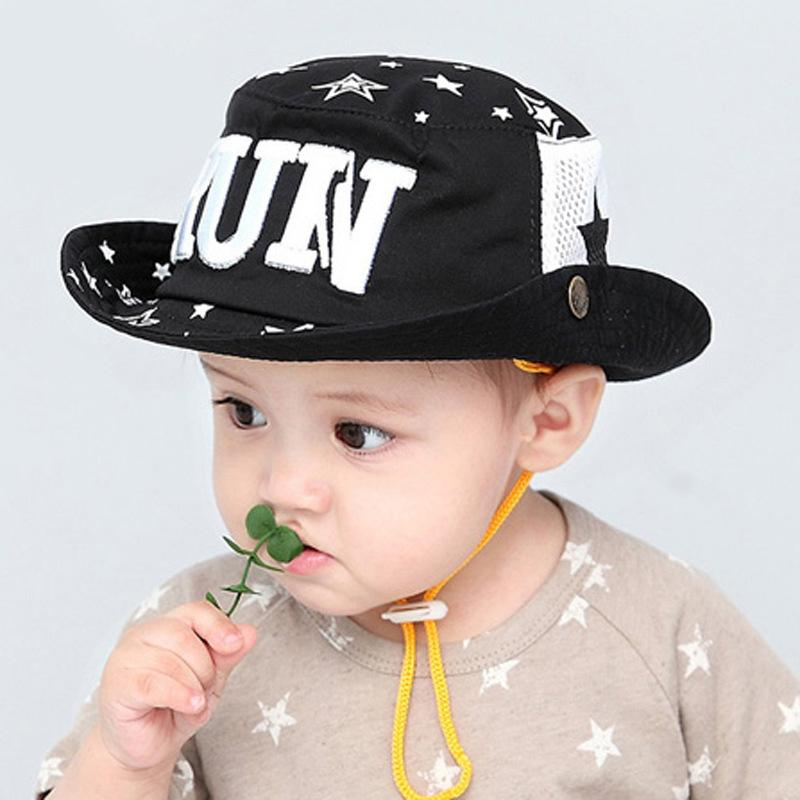 5965615655d 2019 Baby Boys Girs Caps 4 24month Black Red Baby Cap For Boys Cap Kids  Girls Summer Bucket Hats Toddler Sun Hat Letter Run From Newyearable