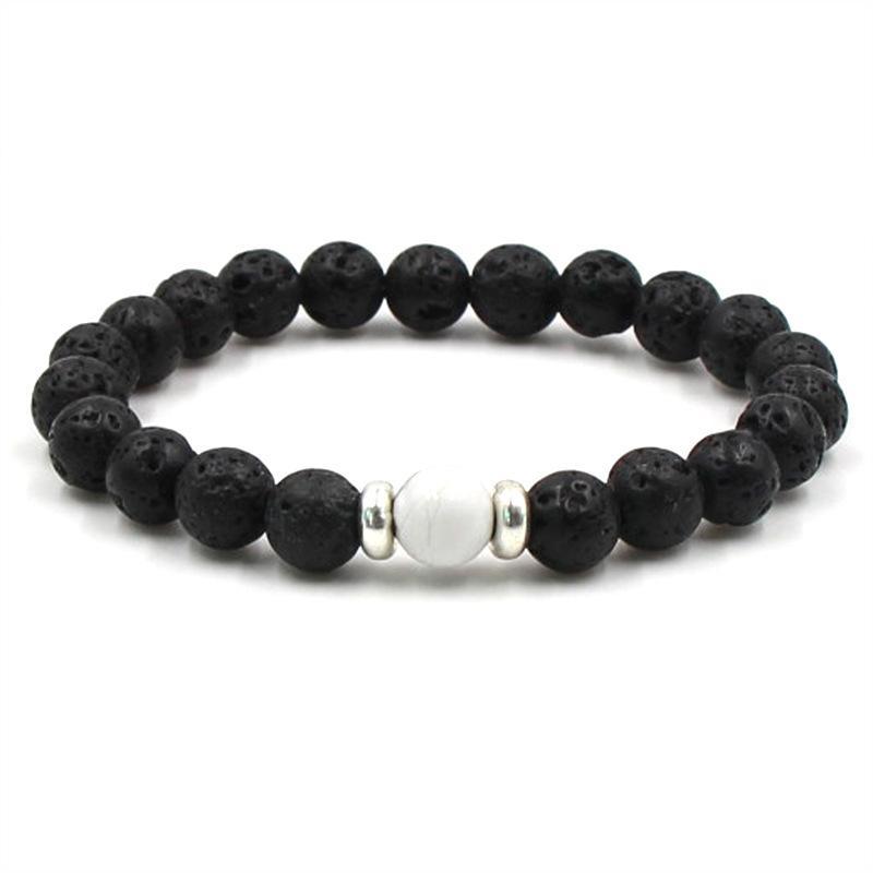 8mm frisado fios pulseira lava rock turquesa yoga prata banhado elástico lazuli ágata tigereye mulheres braceletes