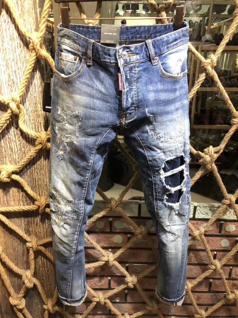 d5313b3cf Compre Nueva Moda Jeans Hip Hop Rock Moto Para Hombre Ropa De Diseñador  Casual Apenado Ripped Skinny Denim Biker Jeans Hombres Pantalones D2 # 0143  A $96.86 ...