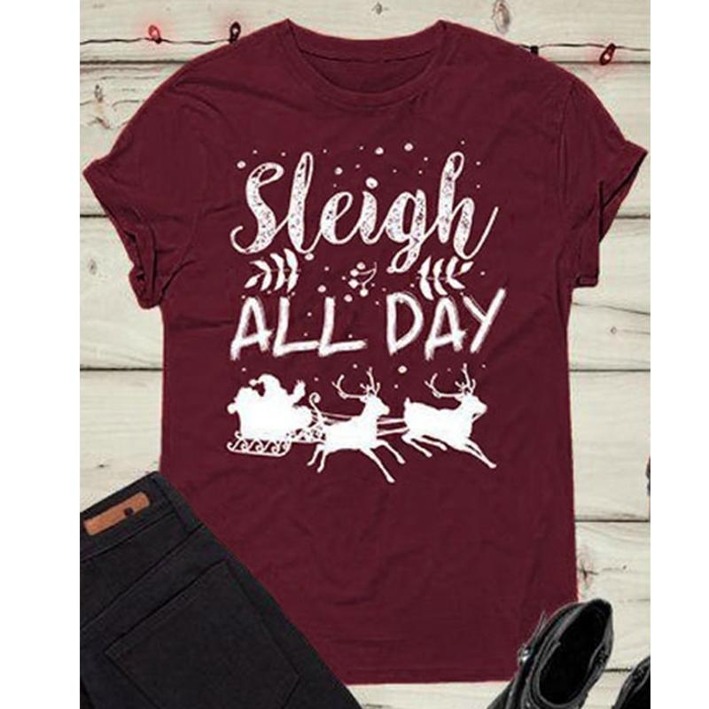 6957f0f1d9012 2018 Sleigh All Day Women T Shirts Merry Christmas Tee Womens Vintage Sexy  Female Tshirt Beer Tops Sexy Tee Shirt Plus Size White Shirt Tee Shirts  From ...