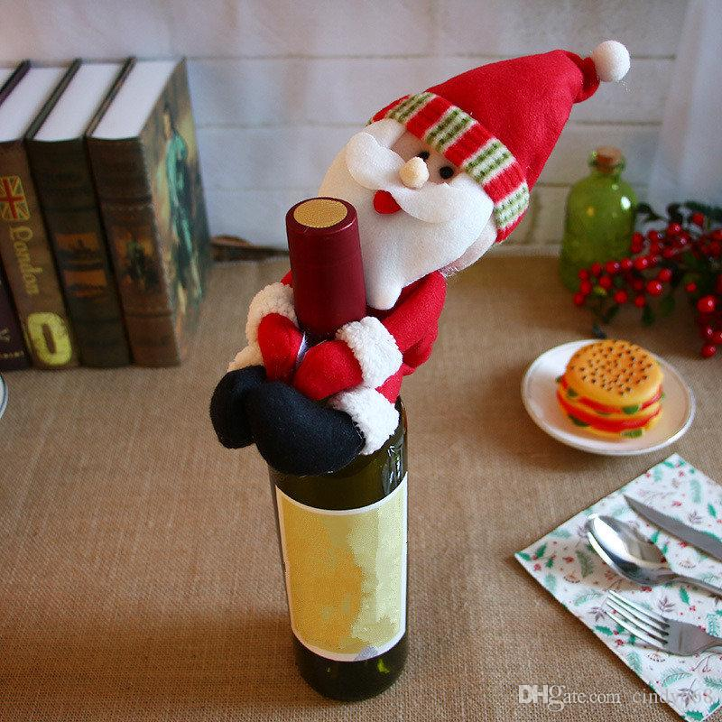 Santa Claus Snowman Dolly For Red Wine Bottle Ornaments Festival Party Home Decor Christmas Decor 3 pcs/lot Xmas Table Decor Set