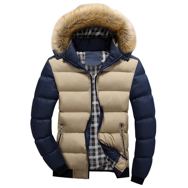 Acquista 2018 Inverno Mens Giacca Con Collo In Pelliccia Sintetica Casual  Patchwork In Cotone Imbottito Con Cappuccio Parka Cappotto Giacche Uomo  Marchio Di ... b4a9540bb88
