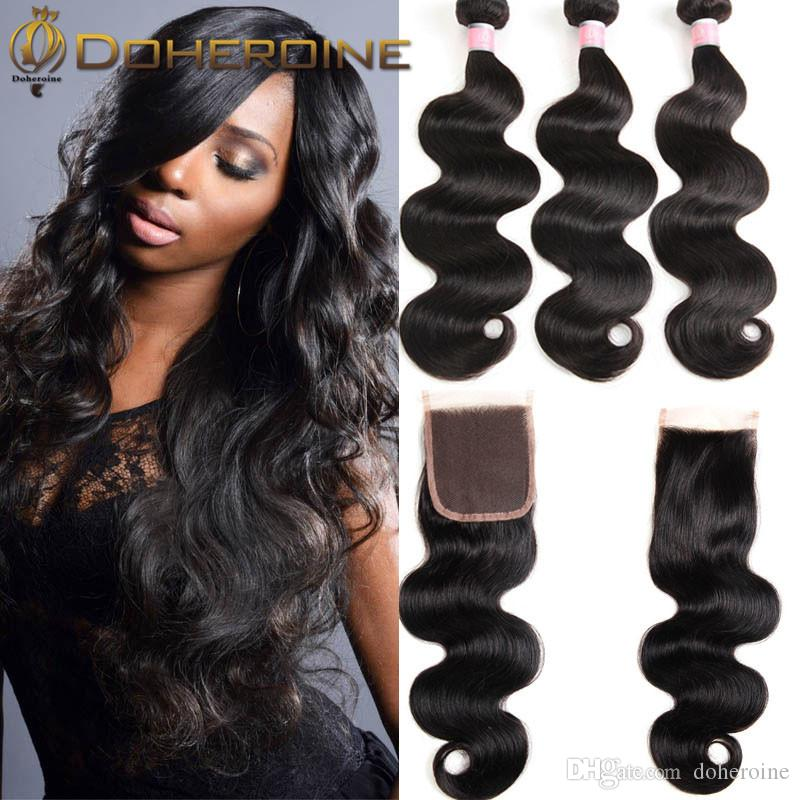 Peruvian Hair 3 Bundles With Closure Peruvian Body Wave With Closure