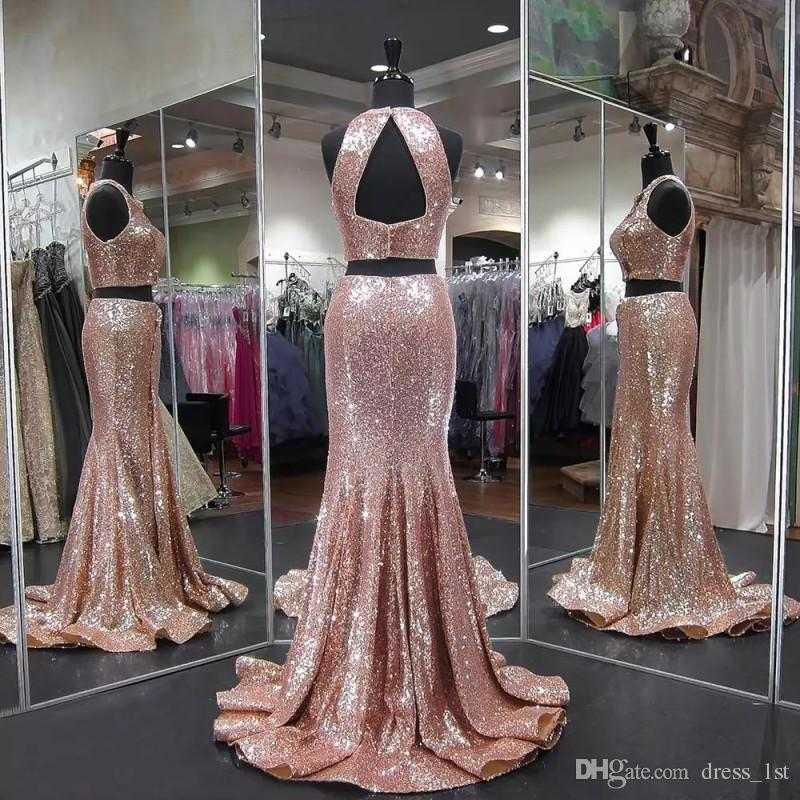Real Photos Sexy 2018 Two Piece Prom Dresses Mermaid Open Back Jewel Neck Rose Gold Shiny Sequins Formal Evening Gowns