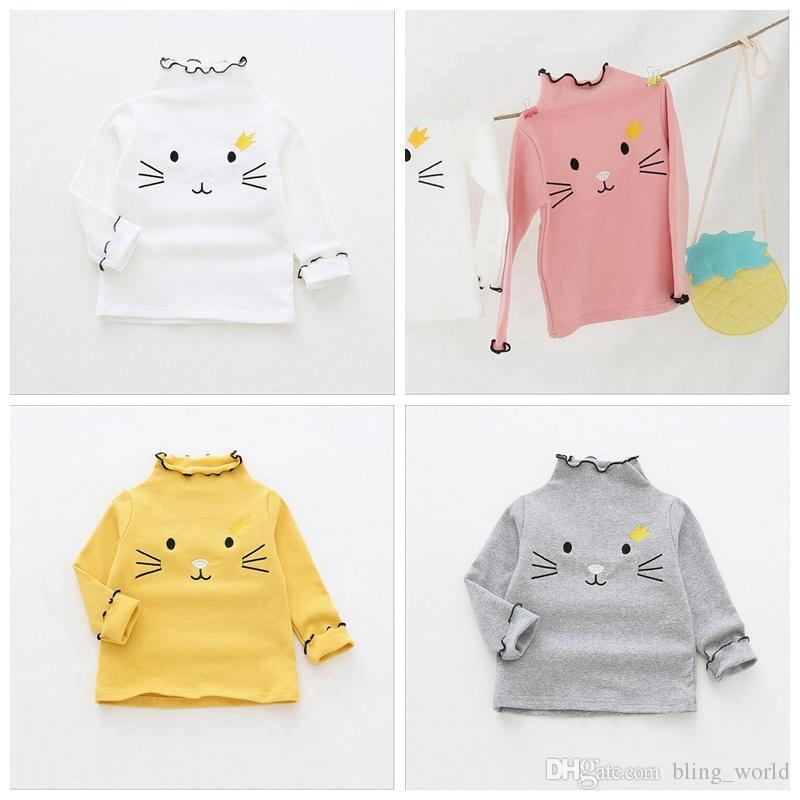 c15b16a04e726 Acheter Bébé Filles Col Roulé T Shirts Cat Design Coton Chemises Brodé À Manches  Longues Chemise Enfants Designer Vêtements Printemps Automne Vêtements LM59  ...