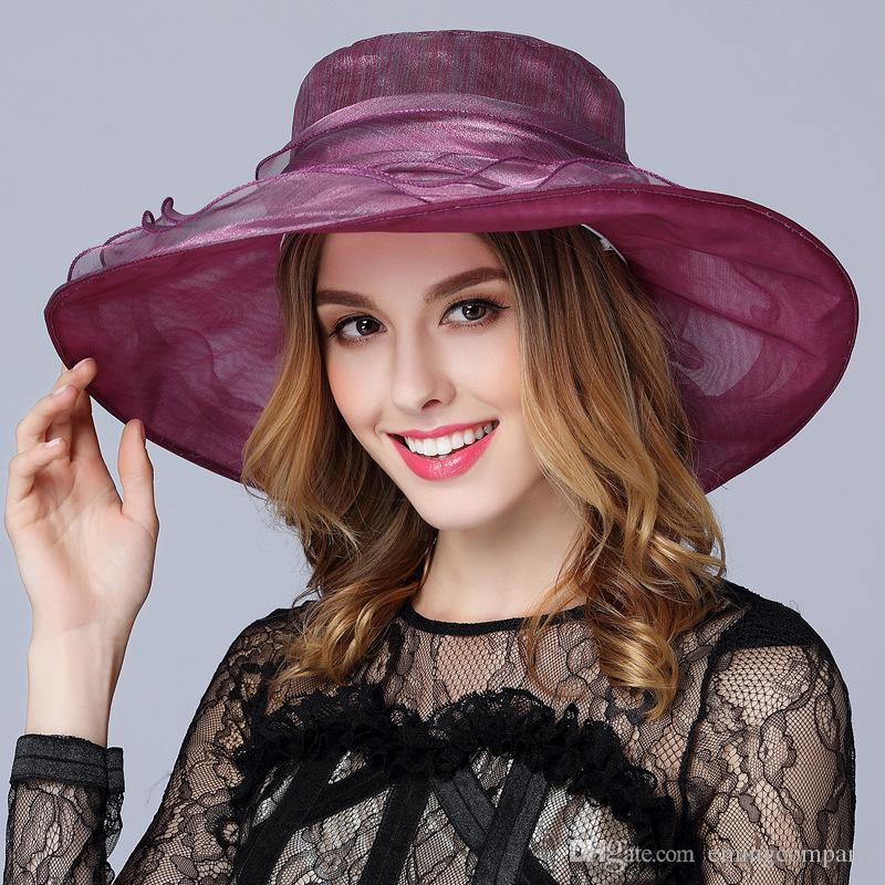 791ce93910b 2019 Designer Womens Church Hats Kentucky Derby Organza Ladies Hat Female  Summer Caps Lady Dress Wedding Elegant Orgabza Hats Races For Sale From ...
