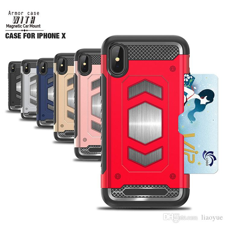 brand new 90cc5 49bbe Hybrid Armor Card-Slot Phone Case Magnetic Car Mount Back Cover For iPhone  X10/8/8 7/7 /6/6 LG V30Q6Q8G6G7 retail Package available