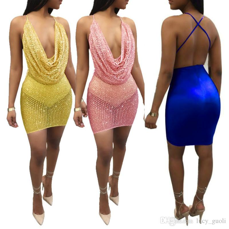 05077e6b8f6 Sexy Sheer Opaque Tiny Rhinestone Sleeveless Bodycon Mini Dress Women Off  Shoulder Mini Dress Christmas Party Club Strap Dresses Vestidos Floral  Cocktail ...