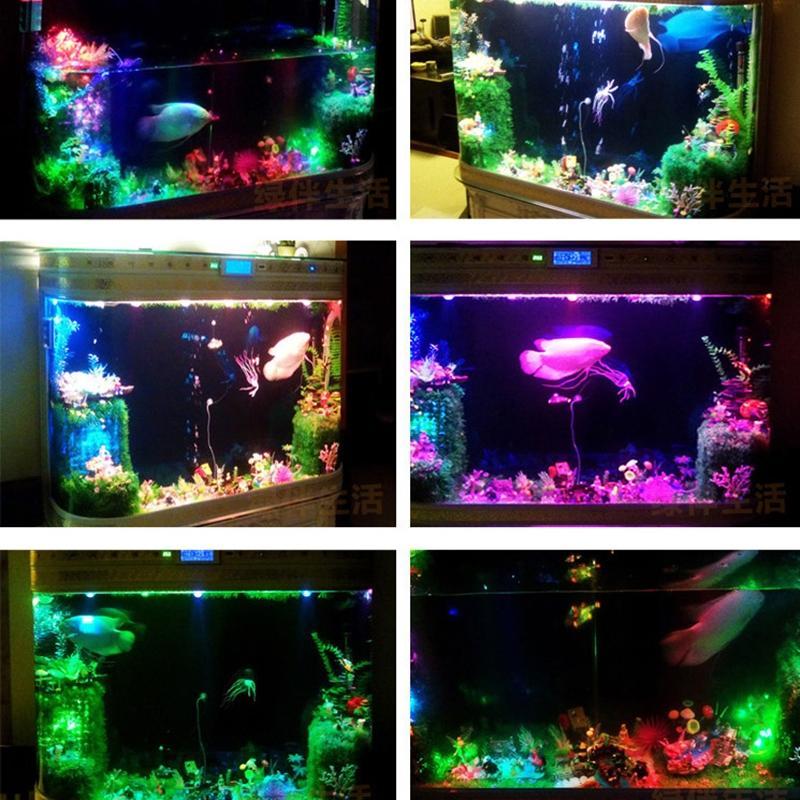 Novo Aquário Submersível Anfíbio LEVOU Holofotes colorido Lâmpada Luz À Prova D 'Água Decoração de fundo Para O tanque De Peixes Lagoas Piscina