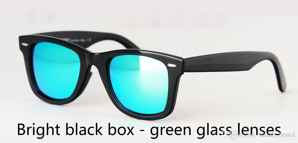 High quality Brand Designer Metal hinge Sunglasses for Women Men plank frame Glass Lens with Leather with free cases and box