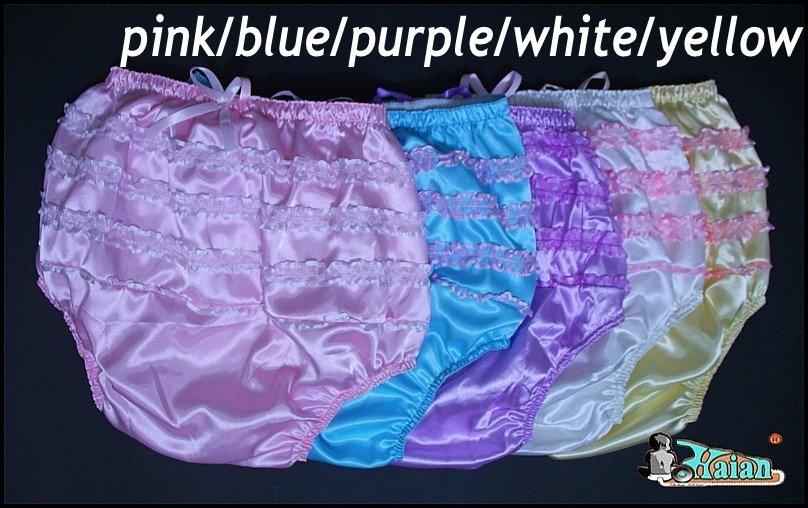 9bc22452e 3 pieces Adult Sissy Satin Frilly incontinence Diaper Cover #FSP007+Full  Size